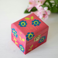 Hand-painted Pink Trinket Box, Pink Storage Box, Pink Jewellery Box