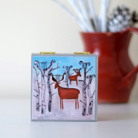 Christmas Trinket Box with Winter Landscape Art Print