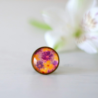 Yellow Adjustable Ring, Purple Floral Ring, Glass Ring with Art Print