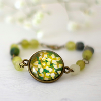 Green Floral Bracelet with Flowers Art Print and Fair Trade Sea Glass Beads
