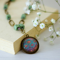 Turquoise Pendant Necklace with Floral Art Print and Green Gemstones