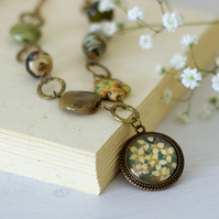 Green and Bronze Flower Pendant Necklace, Floral Art Pendant, Beaded Necklace
