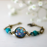 Turquoise and Bronze Flowers Bracelet, Art Print Bracelet