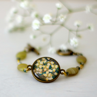 Green Flowers Bracelet with Green Gemstones, Green and Bronze Bracelet with Art