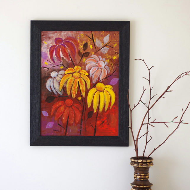 Autumn Flowers Painting, Mixed Media Artwork, Framed Painting