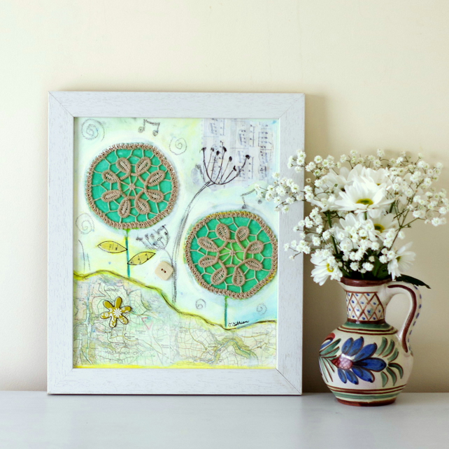 Mixed Media Painting, Framed Rustic Style Artwork, Shabby Chic Art with Doily