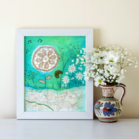 Shabby Chic Painting, Mixed Media Art with Doily, Rustic Frame Artwork