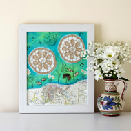 Rustic Style Painting, Shabby Chic Artwork, Mixed Media Framed Artwork, Lace Art