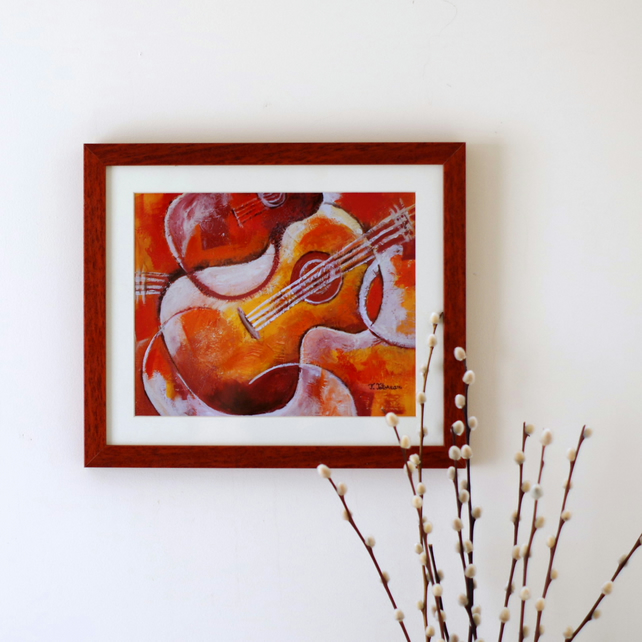 Guitar Art Print after Original, Music Art Print Framed