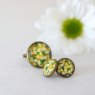Green Floral Jewellery Set, Green Floral Adjustable Ring, Green Floral Studs
