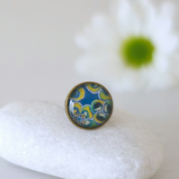 Teal Floral Adjustable Ring with Glass Cabochon and Art Print