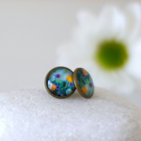 Blue Floral Stud Earrings with Art Print
