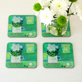 Turquoise Coasters Set of 4, Coasters with White Flowers