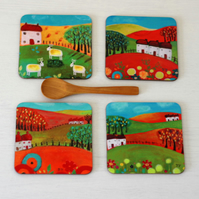 Red and Green Landscape Coasters with Art Prints