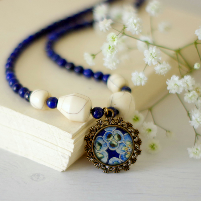 Navy Blue Pendant Necklace with Flowers Art Print and Lapis Lazuli Gemstones