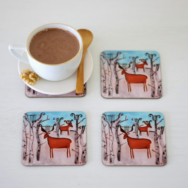 Winter Table Coasters, Animal Coasters, Artist Painting with Deer Coasters