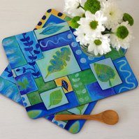 Blue Placemats, Green Placemats set of 2, Abstract Design Place Mats