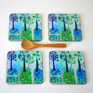 Landscape Coasters set of 4, Tree Coasters, Green Blue Coasters