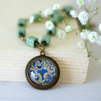 Teal and Mind Green Pendant Necklace with Floral Art Print and Lava Beads