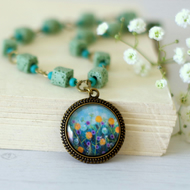 Turquoise Floral Pendant Necklace, Flowers Pendant, Mint Green Necklace