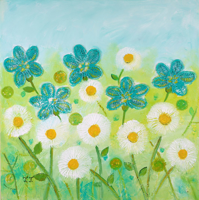 Mixed Media Floral Artwork, Turquoise Flowers Painting, White Daisy Art