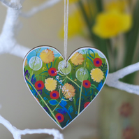 Floral Heart Hanging Decoration, Valentine's Gift, Mother's Day, Easter Decor
