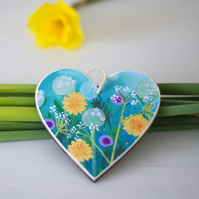 Turquoise Floral Hanging Decoration, Heart Decoration for Mother's Day & Easter