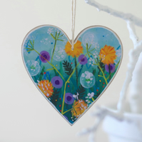 Mother's Day Hanging Heart Decoration with Floral Art Print, Easter Decoration