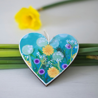Valentine's Heart Hanging Decoration with Floral Art Print, Easter decoration