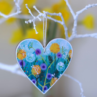 Heart Hanging Decoration with Dandelions, Mother's Day Floral Gift, Easter