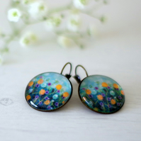 Aqua Blue Floral Earrings, Bronze Earrings with Art Print and Glass Cabochon