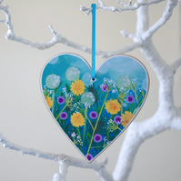 Blue Hanging Heart with Purple Flowers and Dandelions, Blue Hanging Decoration