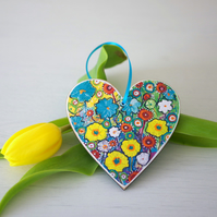 Turquoise Heart Hanging Decoration with Yellow Flowers, Easter Decoration