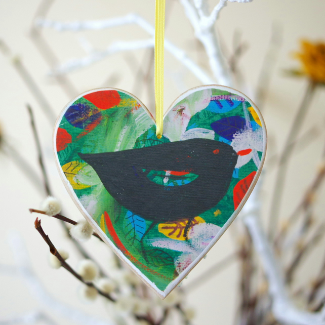 Blackbird Hanging Decoration, Green Easter Hanging Decoration, Heart Decoration