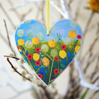 Yellow Floral Hanging Decoration, Blue Heart Hanging Decoration, Easter Decor