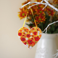 Red Hanging Heart, Poppy Hanging Decoration, Red Flowers Heart