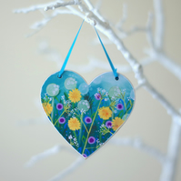 Turquoise Hanging Heart with Dandelions and Purple Flowers