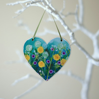 Green Hanging Heart with Dandelions and Purple Flowers