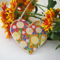 Yellow Hanging Heart, Orange Hanging Decoration, Dandelions Spring Heart