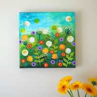 Summer Flowers Original Painting with Dandelions and Red and Purple Flowers