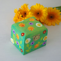 Green Hand Painted Trinket Box, Dandelions Spring Jewellery Box