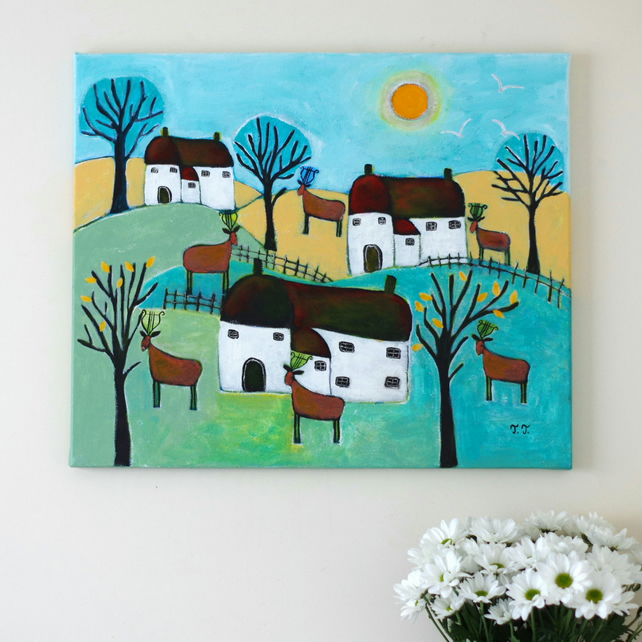 Naive Landscape Painting with Devon Cottages and Deer, Music Artwork