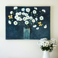 White Daisies Still Life Painting, Textured Contemporary Floral Artwork