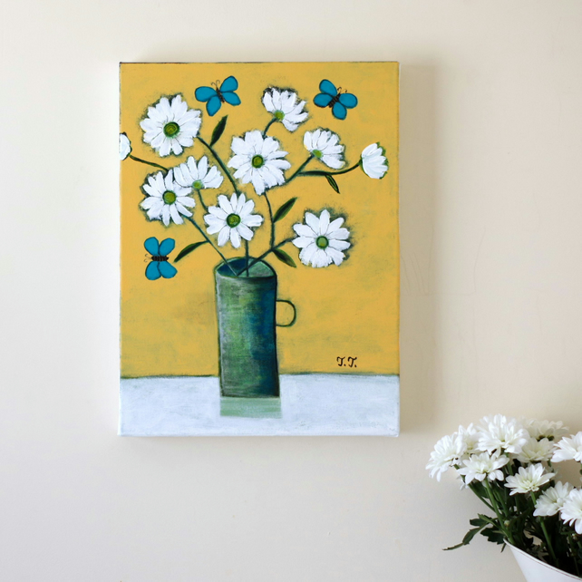 Yellow Still Life Painting with White Daisies and Turquoise Butterflies