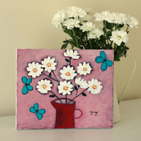 Pink Floral Artwork with White Daisies, Turquoise Butterflies Painting