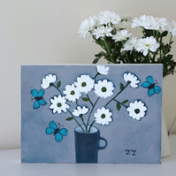 White Daisies and Turquoise Butterfly Painting, Grey Floral Artwork