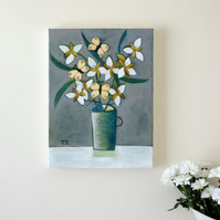 Original Still Life Painting with White Flowers and Yellow Butterflies
