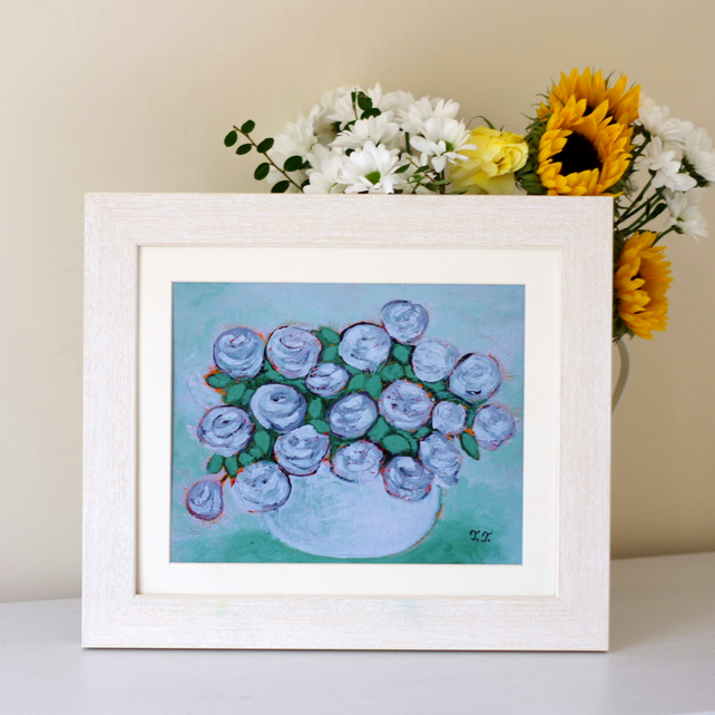 One Off Floral Art Print After Original Green Painting with Roses