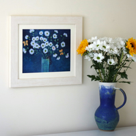 One Off Daisy Art Print with Yellow Butterflies after Original Floral Painting