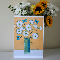 One Off Floral Art Print After Original Painting with Daisy and Butterflies